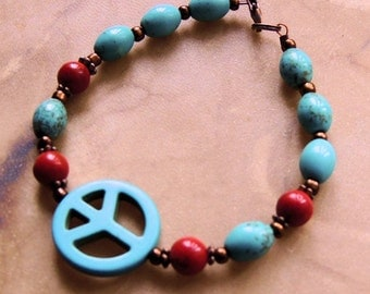 Turquoise and Red Coral Bracelet, Turquoise and Copper, Peace Bracelet, Hippie Jewelry, Boho Jewelry, Native Style, Handcrafted