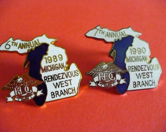 5 - Harley Owners Group (HOG) Annual Michigan Rendezvous Pins, West Branch, 1989 - 1993 pins