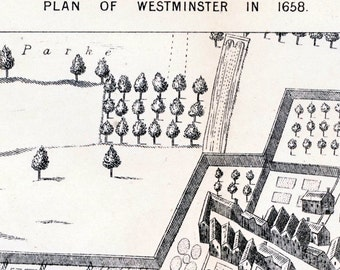 1884 Antique Lithograph of a Plan of Westminster in 1658