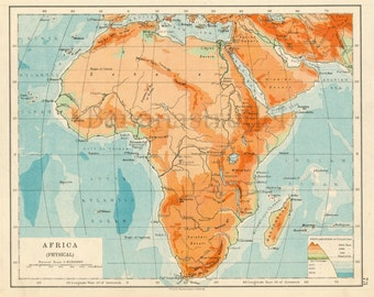 1914 Vintage Map of Africa - Physical - Vintage Africa Map - Old Map of Africa