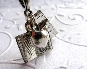 Teacher necklace, silver pewter apple charm, teacher gift, book, ruler, reading necklace, literacy, math tutor, literature, back to school
