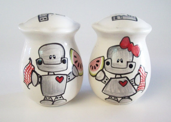 Salt and pepper shakers watermelon munching robots Salt and pepper robots