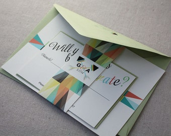 Modern Geometric Eco-Friendly Wedding Invitation Sample