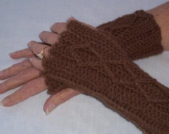 Women's Crochet Mitts, Chocolate Brown Mitts, Fingerless Mitts, Wristwarmers, Washable Wool, Teen Girl Mittens, Brown Mitts, Crocheted Mitts