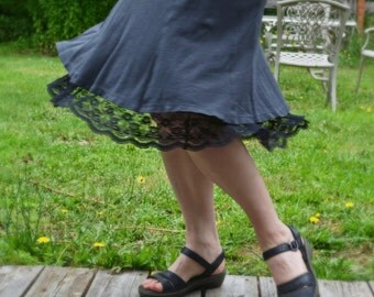 You Choose The Lace Black Cotton A-line Half Slip Extender Skirt Summer Petticoat Made to Order Under Skirt Plus Size Available