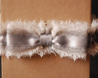 Wedding Garter - Light Gray Chiffon and Lace Bridal Garter with Bow - Emmi