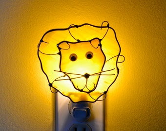Eli the Lion  Stained Glass Nightlight