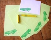 iguana lizard letter set in emerald green ink on lime paper for writing your reptile-lovin' pen pal