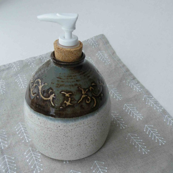 Decorative Stoneware Soap or Lotion Dispenser - White - Blue Gray - 2 1/2 cups