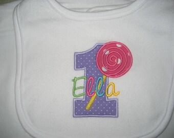 Boutique Lollipop monogrammed birthday bib