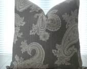 BOTH SIDES Decorative designer Pillow cover --Steel Grey and Ivory  Modern Paisley --Paisley throw  pillow