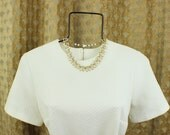 Vintage Coro Necklace  60's / 70's White and Gold Jewelry