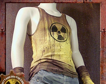 Made to Order a Mens One of a Kind Radioactive Yellow Dirty and Distressed Wasteland Tank Top