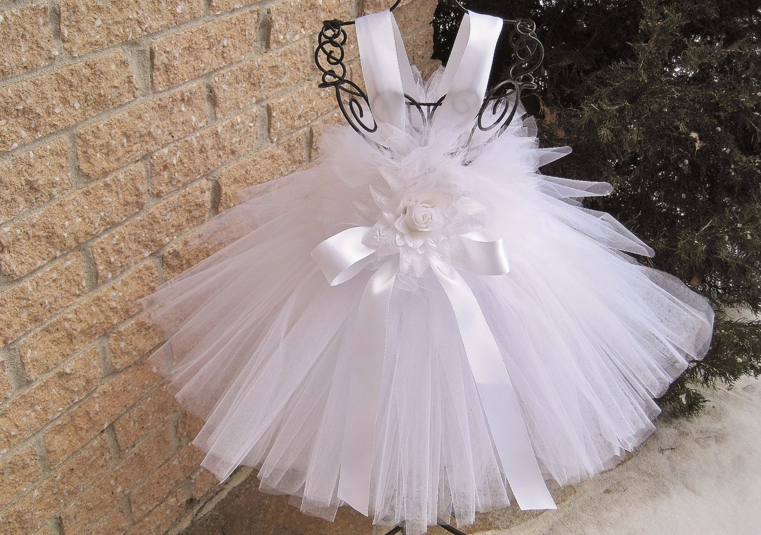 BABY PURE WHITE Tutu Dress Christening Gown Baptism