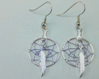 YOUNG COYOTE Dream Catcher Earrings Clip On or Pierced