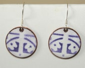 Special Order for Carol K, Purple and White Copper Enamel Earrings, Upcycled
