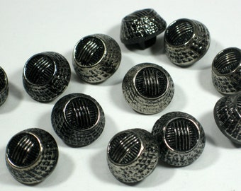 12 Black Glass Buttons with Silvertone