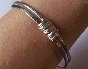 Silver Bangle - FURLED - Silver Wire Wrapped Bangle - Available in Sterling Silver - Silver Filled or German Silver - Made to Order