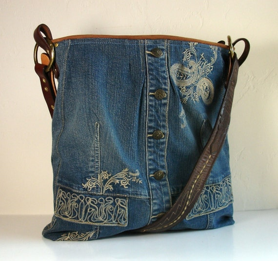 upcycled blue jean jacket big weekender bag. Black Bedroom Furniture Sets. Home Design Ideas