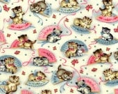 Smitten Kittens Michael Miller Fabric By The Yard Cat Fabric Kitty Fabric