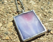 Pink and Purple Swirl Stained Glass Rectangle Pendant Necklace
