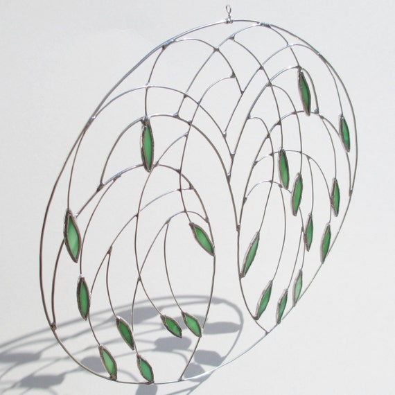 Weeping Willow Stained Glass and Wire Suncatcher Home Decor