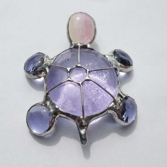 Little Purple Stained Glass Turtle 3d Home Decor