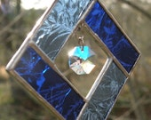 Stained Glass Suncatcher Blues with blue crystal