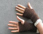 men's fingerless gloves/ chestnut tweed wool crochet