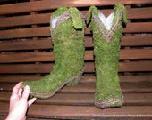 Pair of Cowboy boot moss and vine planters-preserved moss planter-Tru to life size boots for a Country wedding decor