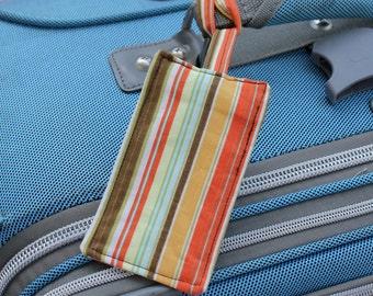 Luggage Tag - Orange & Brown Stripes