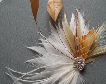 Fall Wedding Hair Accessories Brides Feather Hair Piece Wedding Fascinator Hair Clip White bridal hairpiece