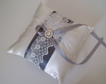 Ring Bearer Pillow lace pillows Grey Wedding Ring Holders holder feather white accessories gray READY TO SHIP