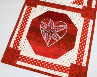 Red Hearts Quilted Wall Hanging - Machine Embroidered Polka Dot Passion, Valentines Day Wall Hanging Quilt, Red Wedding Decor