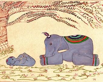 Elephant Yoga, Hatha (i) Yoga, Yoga Art, Elephant Art, Happy Baby Pose