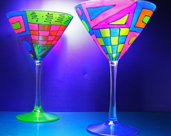 Colorful Martini Glasses/Hand Painted Fused Glass/Gift Martini Lovers/Home Decor/Kitchen/Funktini Glass/Stemware/Unique Summer Gift