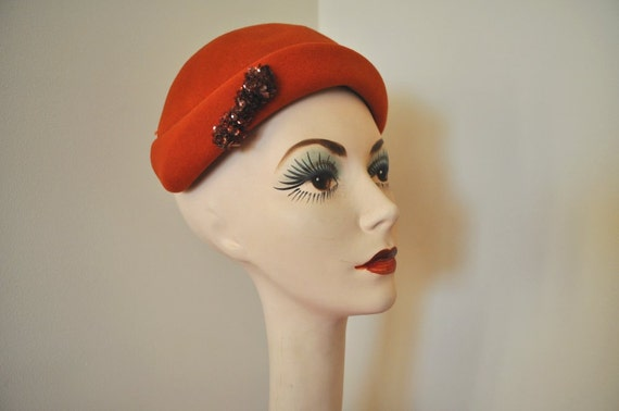 vintage 1950s hat burnt orange sequin bow