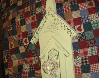 Shabby Chic Distressed Church Front Wooden Wall Hanging