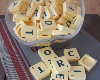 Fantastic Lot of Vintage Scrabble Tiles w/ Green Letters x 100 for Altered Arts Mixed Media Collage Hollowback