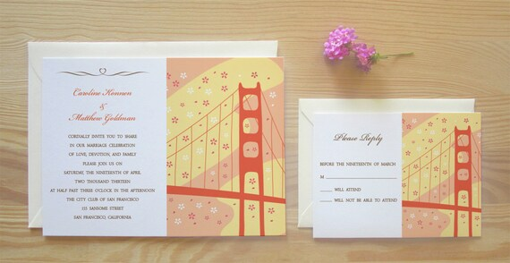 San Francisco Wedding Invitation & RSVP Card Package - Cherry Blossom