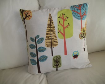 Throw Pillow Cover 16 x 16 Modern Trees, Woodland Trees