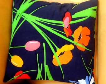Pillow Cover Decorator Pillow Poppy Quilted Top Sham Bright Floral Navy Orange Yellow Pink