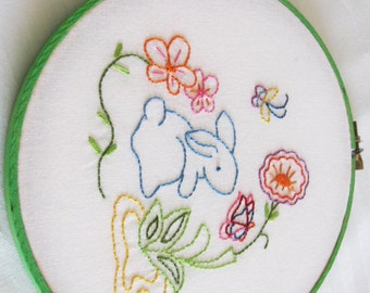 Easter Bunny Rabbit Hoop Art Wall Art Easter Decoration Needlework Embroidery Butterfly Aqua Coral Lime Yellow Pink