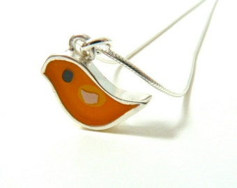 Charm Necklace, Orange Bird, Sterling Silver, Mixed Media, Handmade