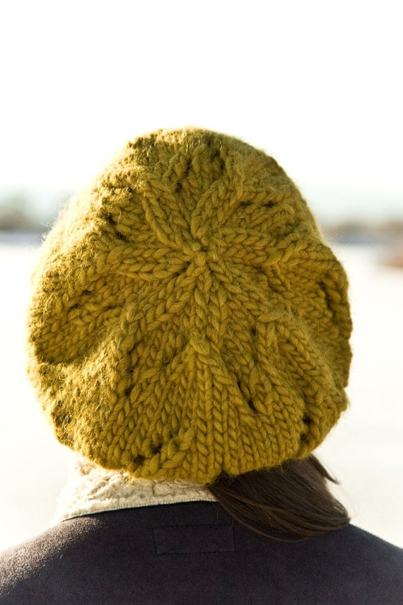 Knitting Pattern Chunky Hat : Mustard Chunky Hat Knitting Pattern Adelyn pattern by Woolibear