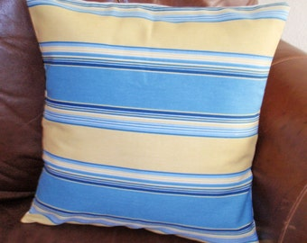 SUMMER SALE - Throw Pillow Cover, French Country Blue & Butter Yellow Stripe Accent Pillow Cover, Handmade Decorative Stripe Cushion Cover