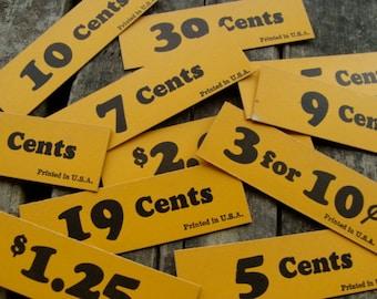 Vintage Price Tags DOZEN