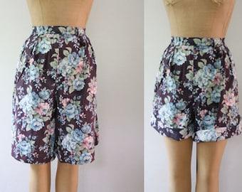 floral shorts / 80s vintage shorts / Aubergine walking shorts