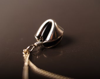 Sterling Fortune Cookie pendant on a chain
