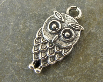 Wise Owl - Sterling Silver Charm or Petite Pendant - One Piece - cwo